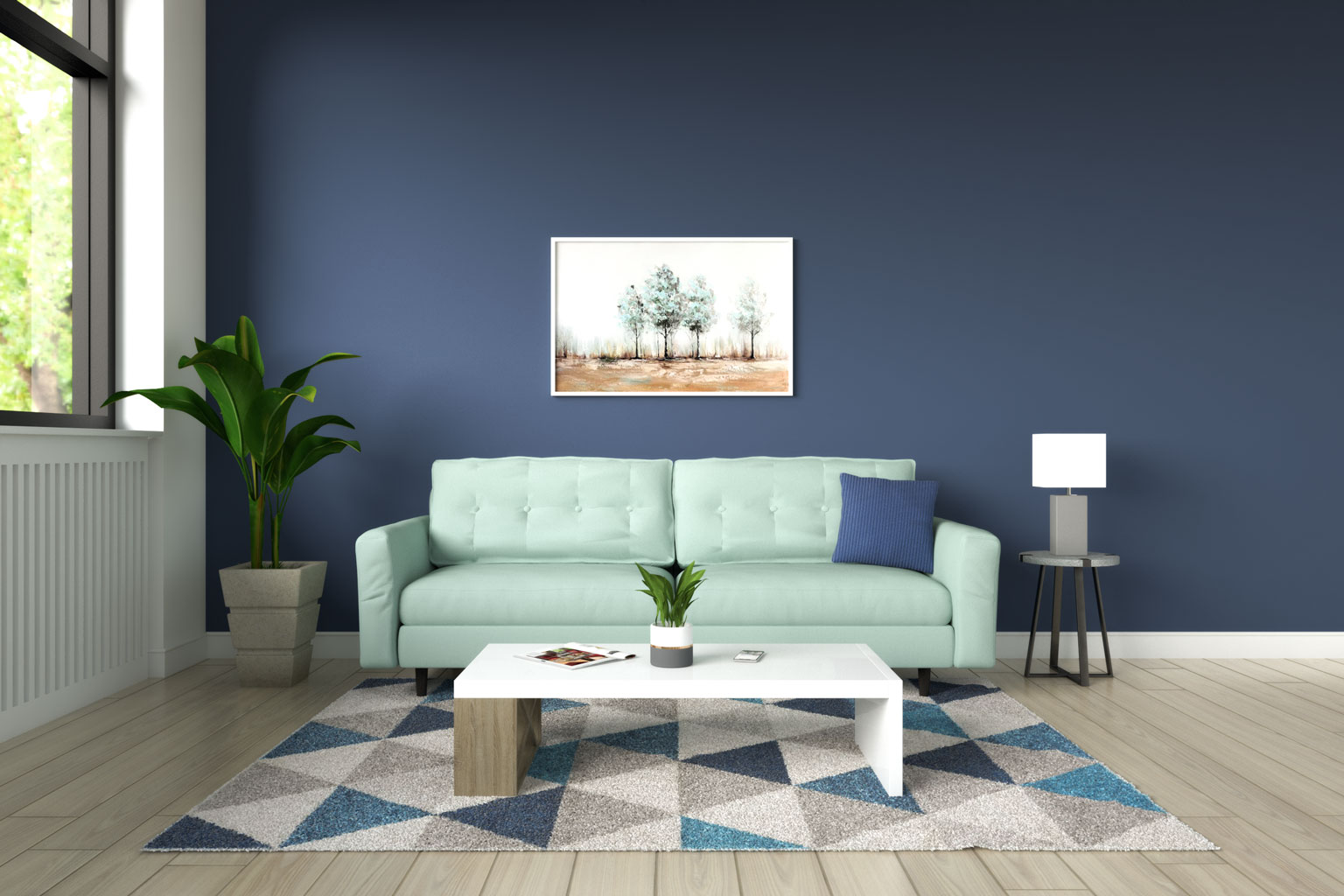 Subtle green sofa with blue wall