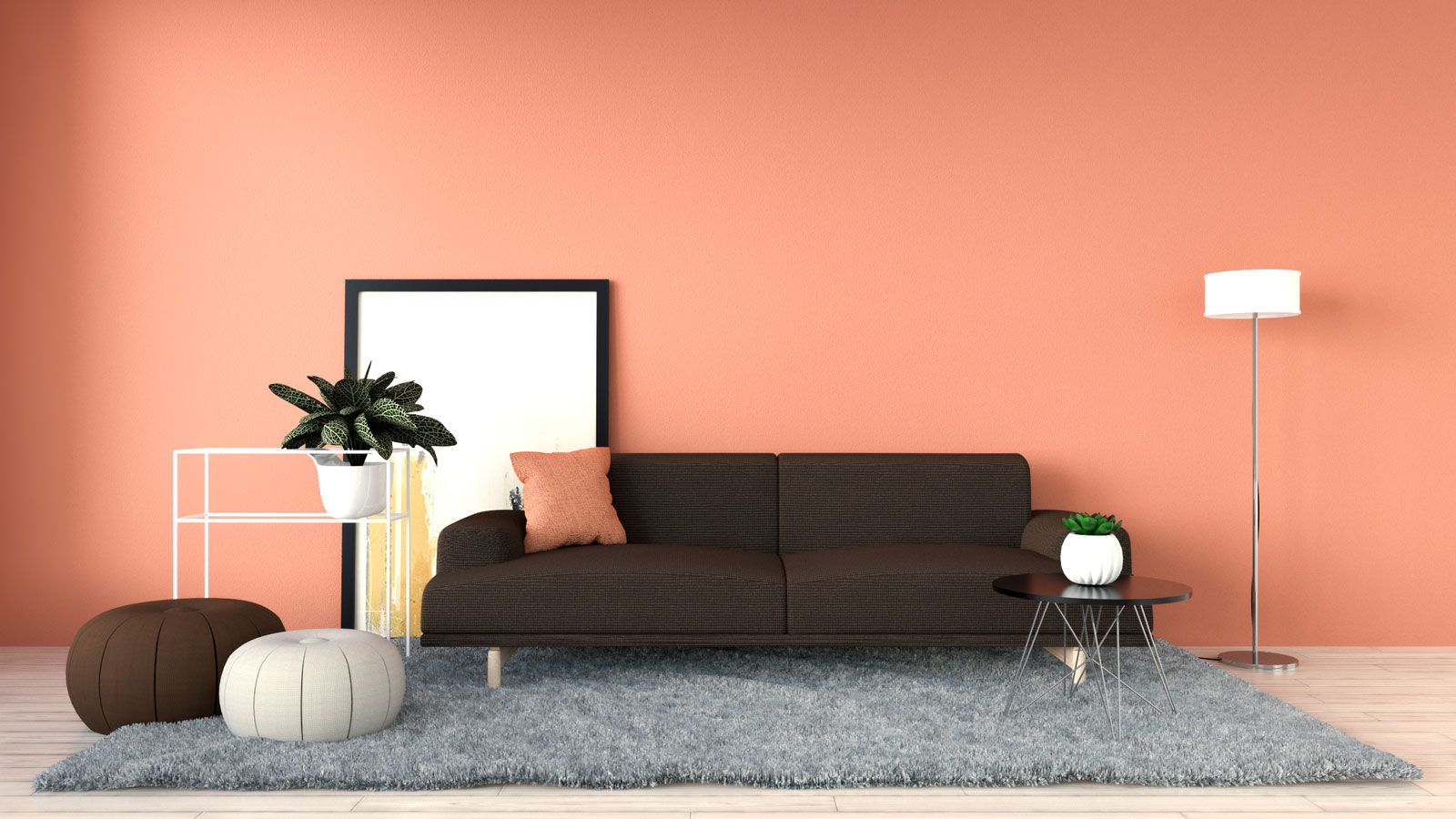 Terracotta wall with a brown sofa