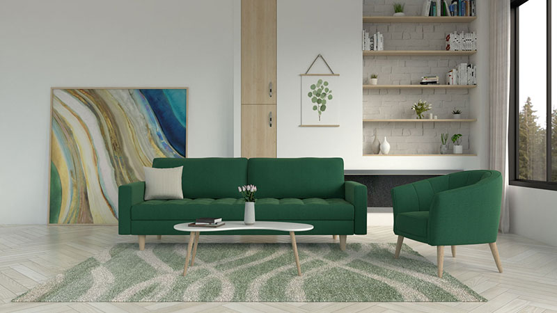What Color Rug goes with Green Couch? (8 Rug Color Ideas with Images)