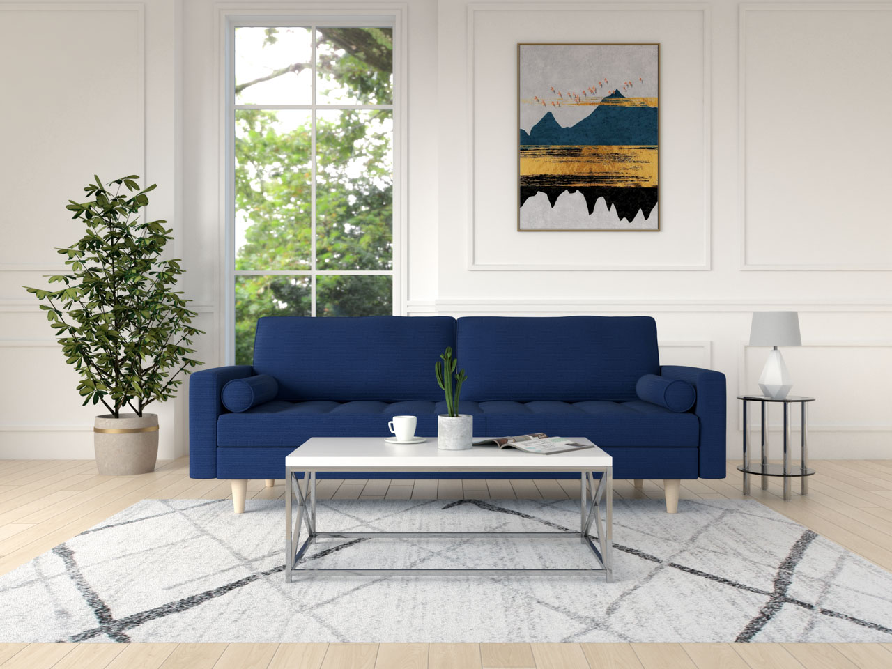 White and chrome coffee table with a blue couch