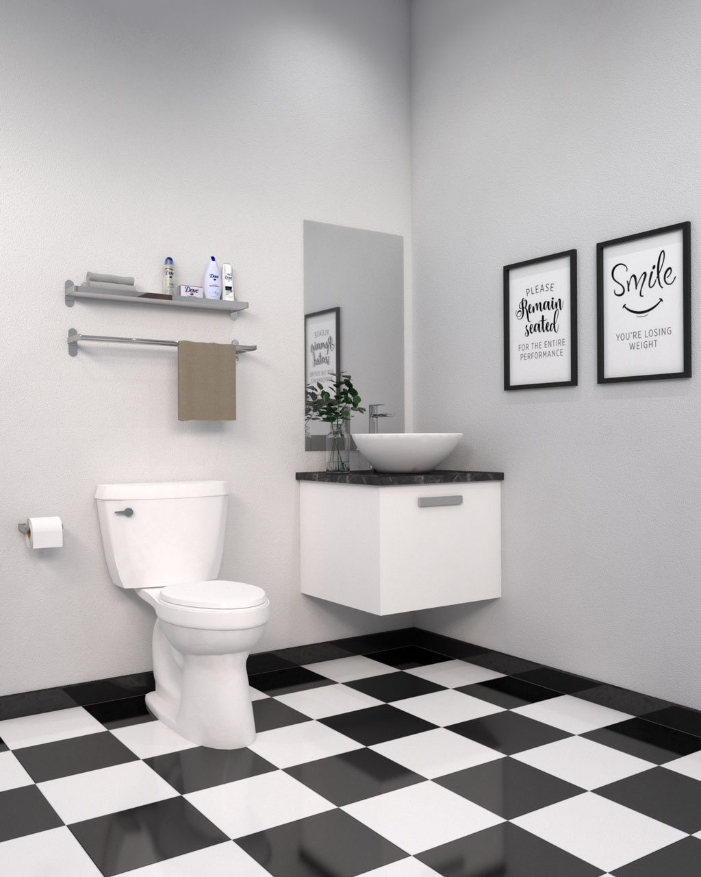 Black and white tile with white walls in bathroom