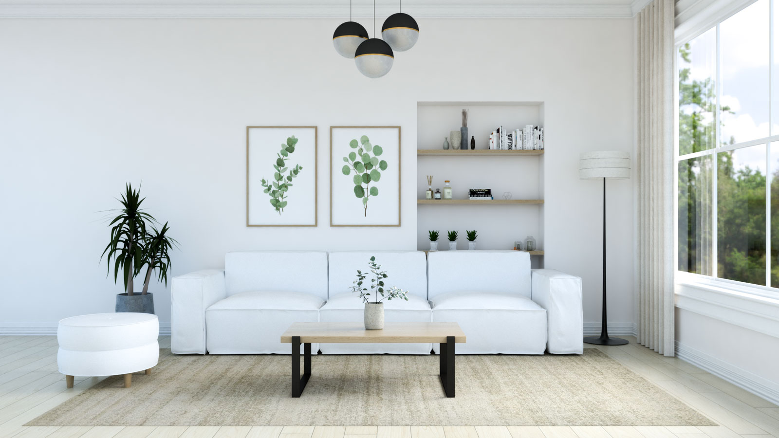 Living room with Beige rug and white couch