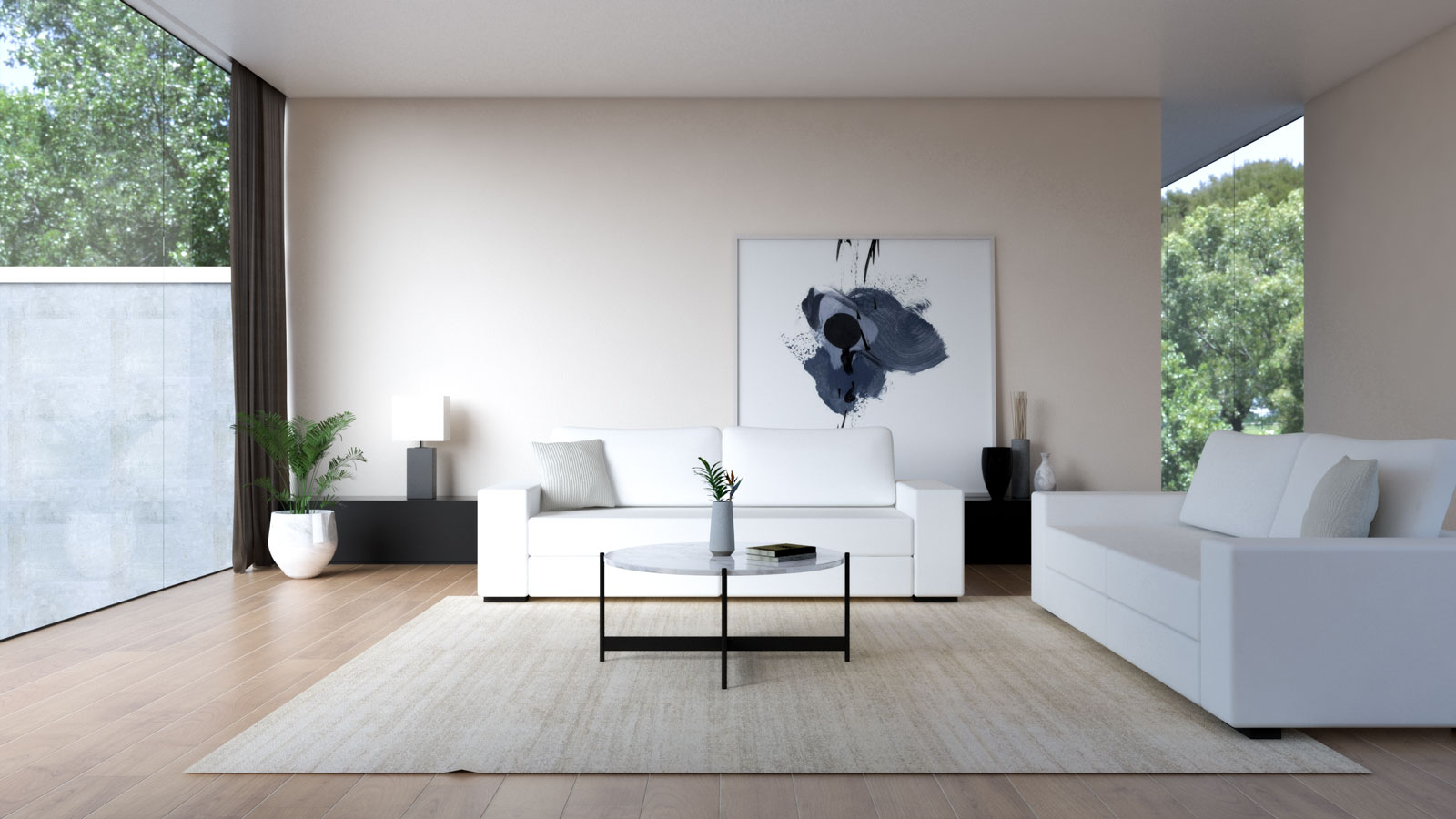 White sofa with beige wall