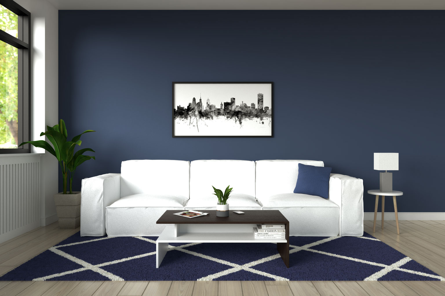 White couch with blue walls