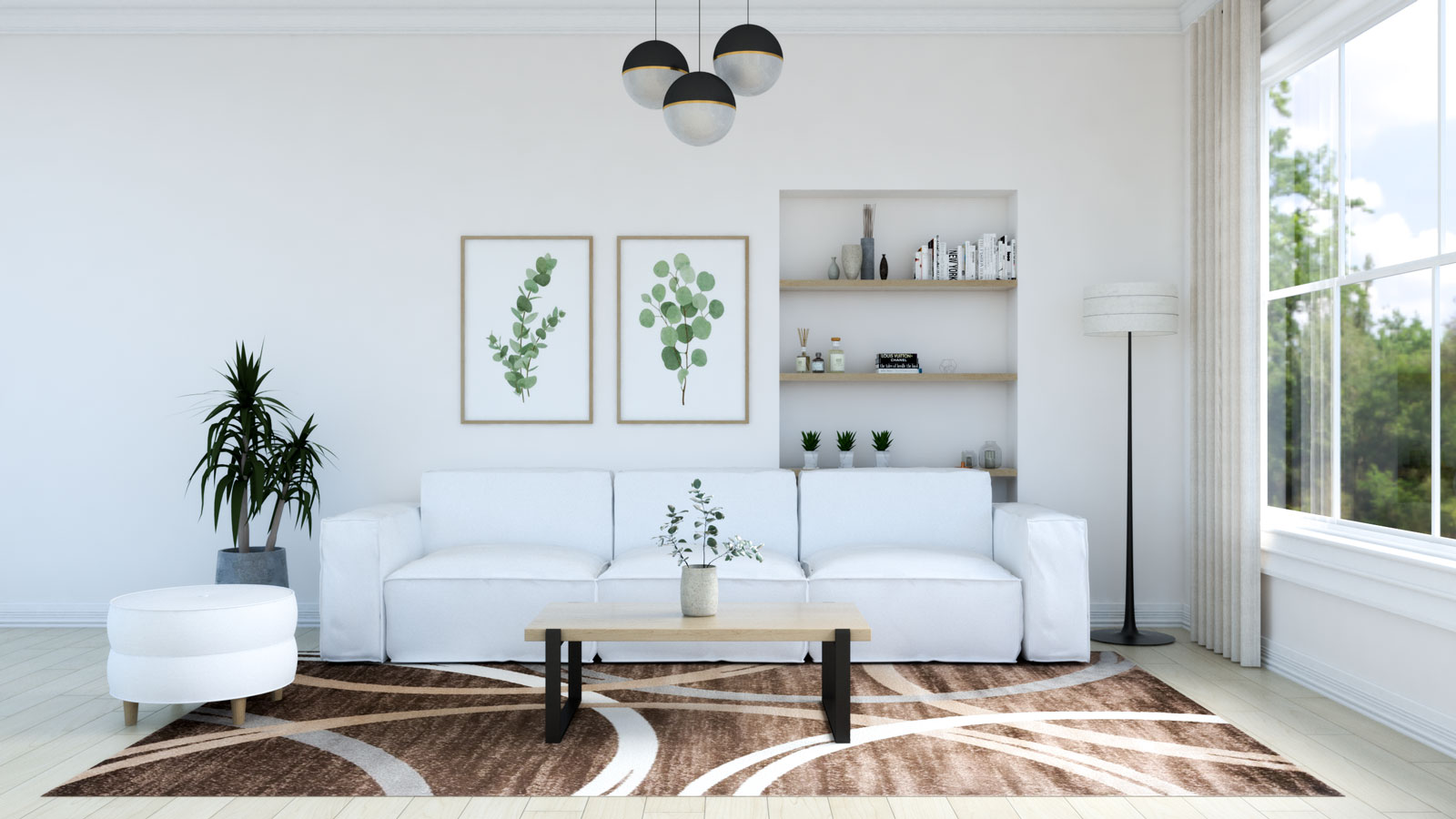 Living room with brown rug and white sofa