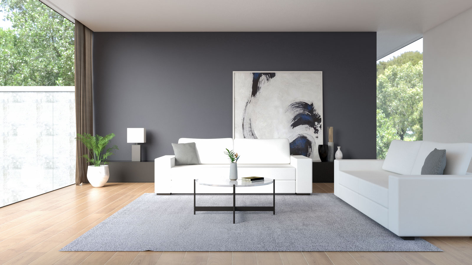 White sofa with charcoal accent wall