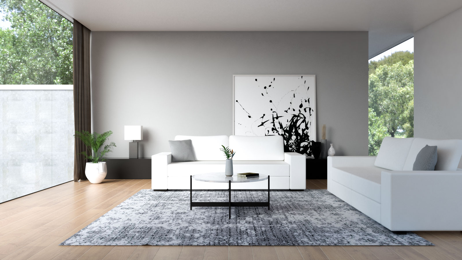 White couch with light gray wall