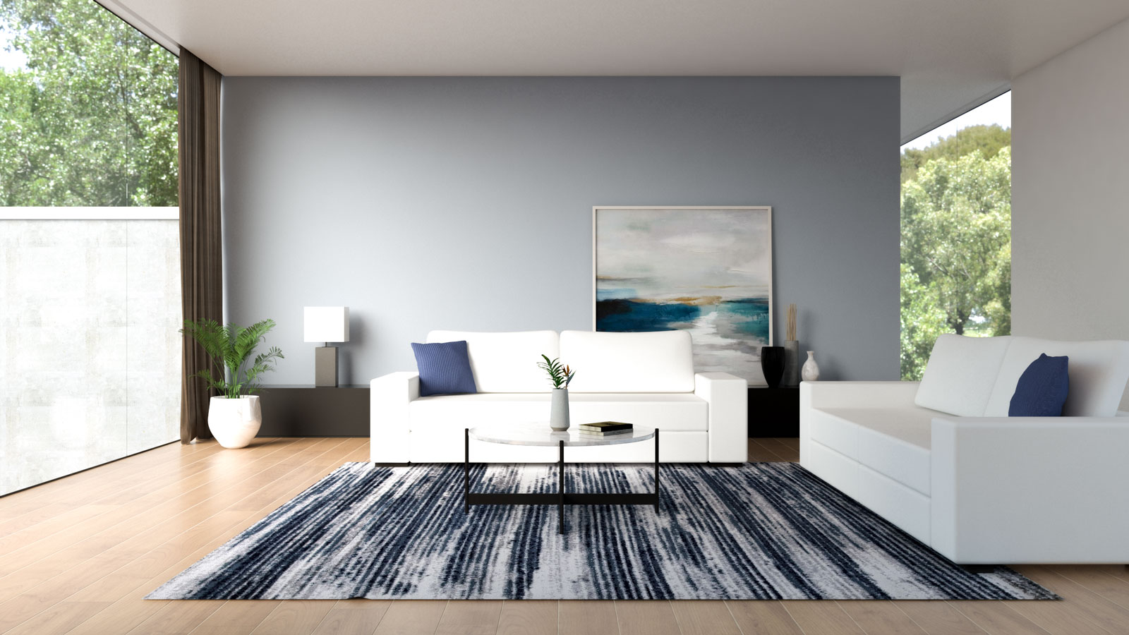 White couch with grayish-blue wall