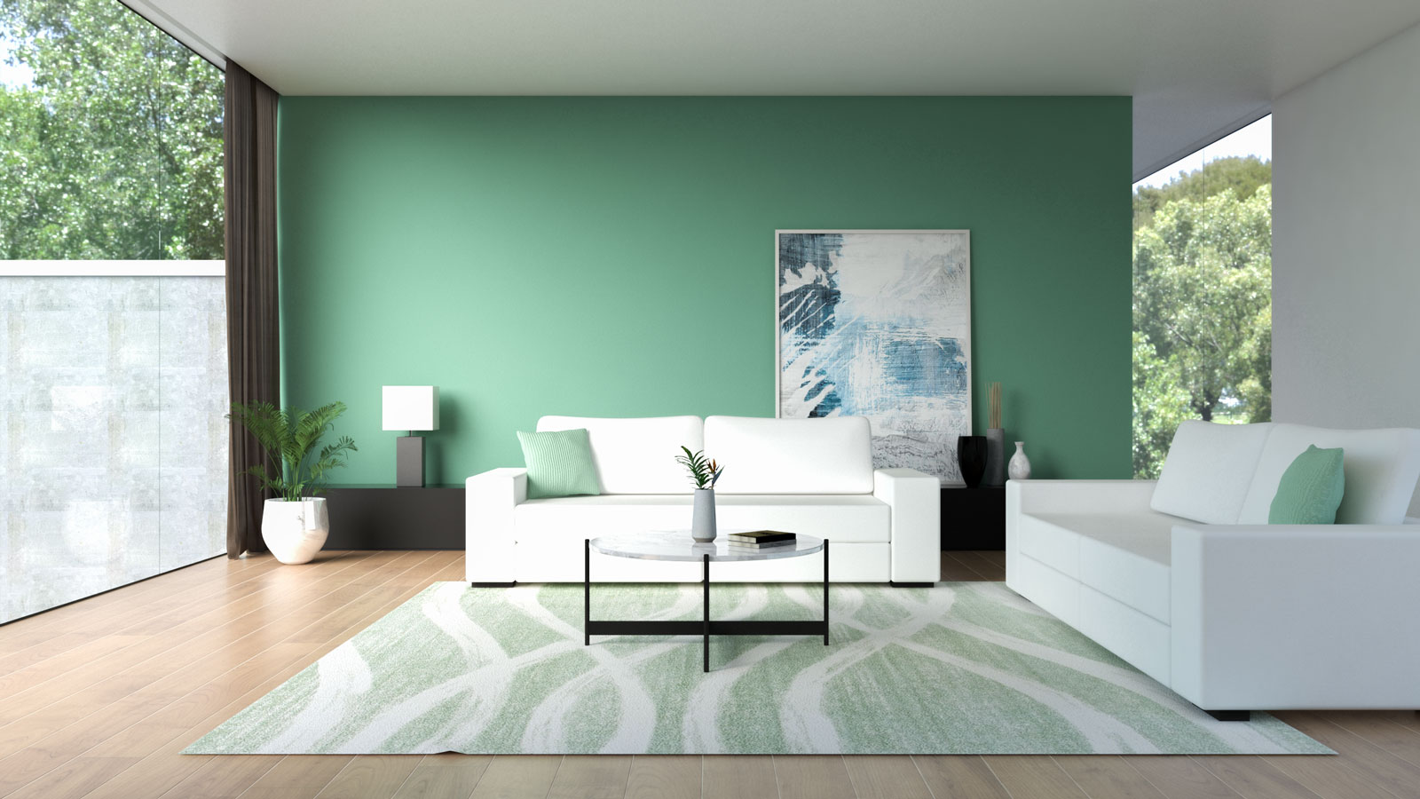 White couch with green wall