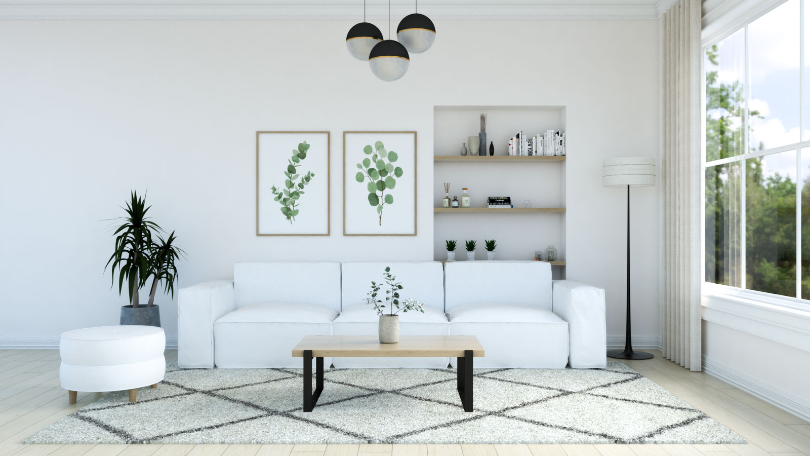 Living room with Ivory rug and white sofa