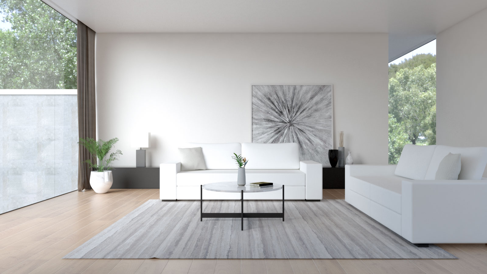 White sofa with ivory wall
