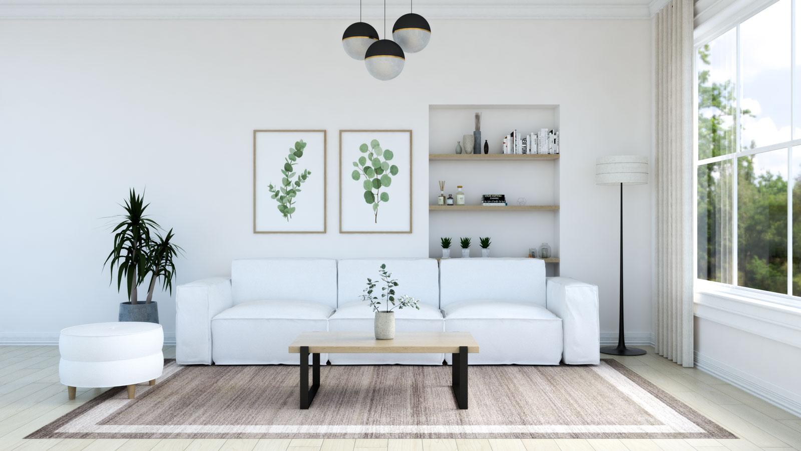 Light brown rug with white sofa