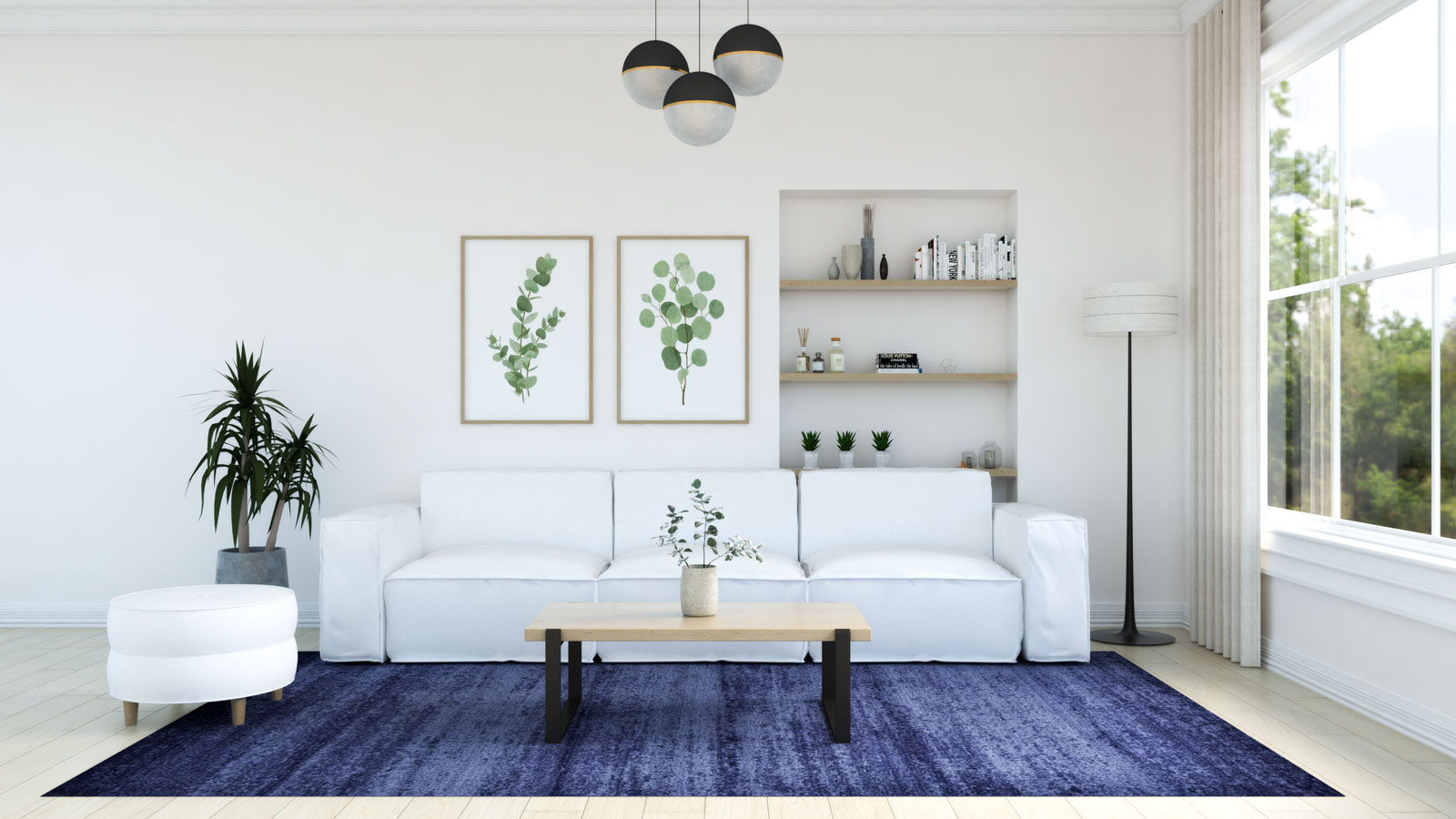 Living room with navy blue rug and white couch