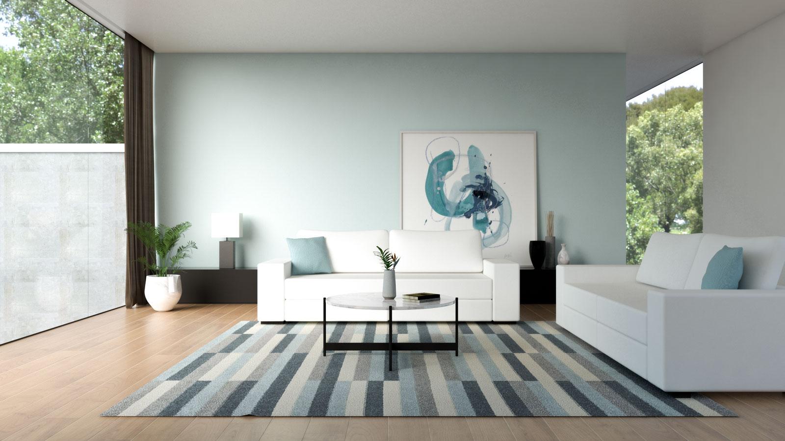 White sofa with sky blue wall