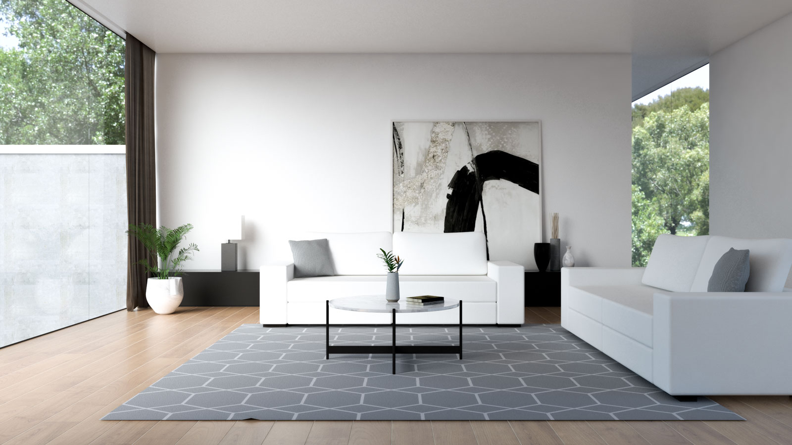 White couch with white wall