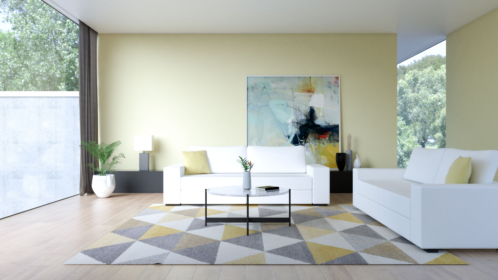 White couch with yellow walls