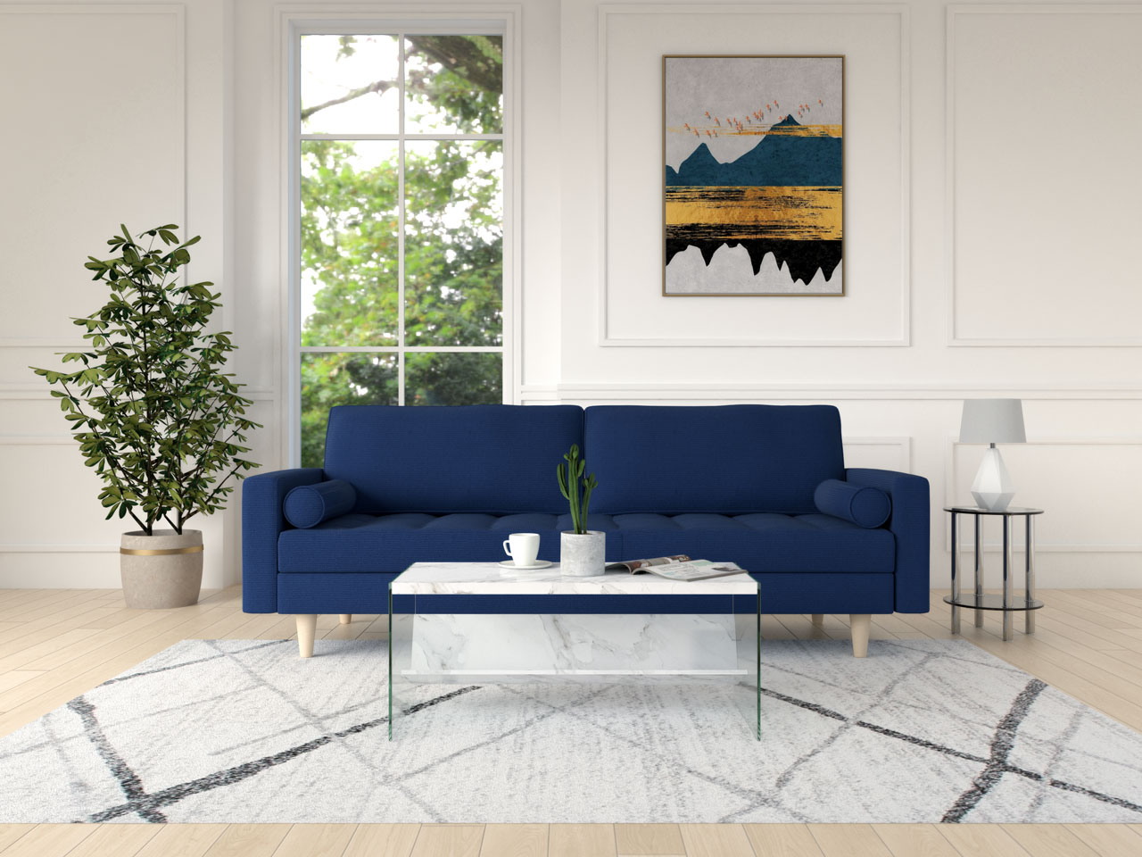 White contemporary style coffee table with a blue couch