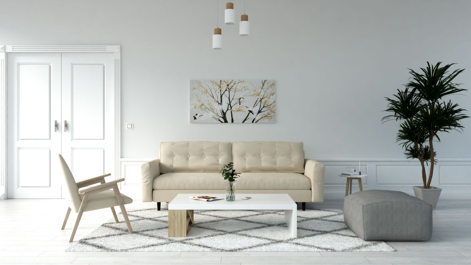 White rug with beige couch