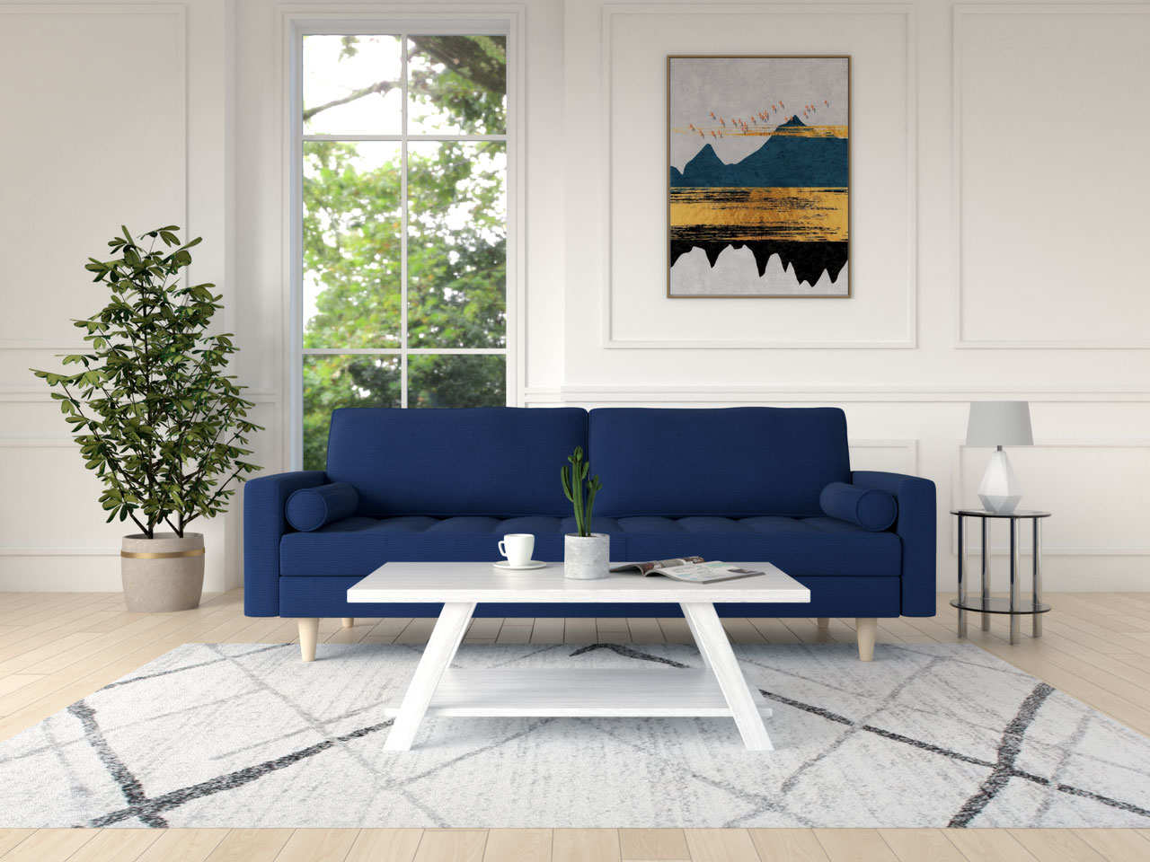 Best coffee table for blue sofa: white wooden coffee table