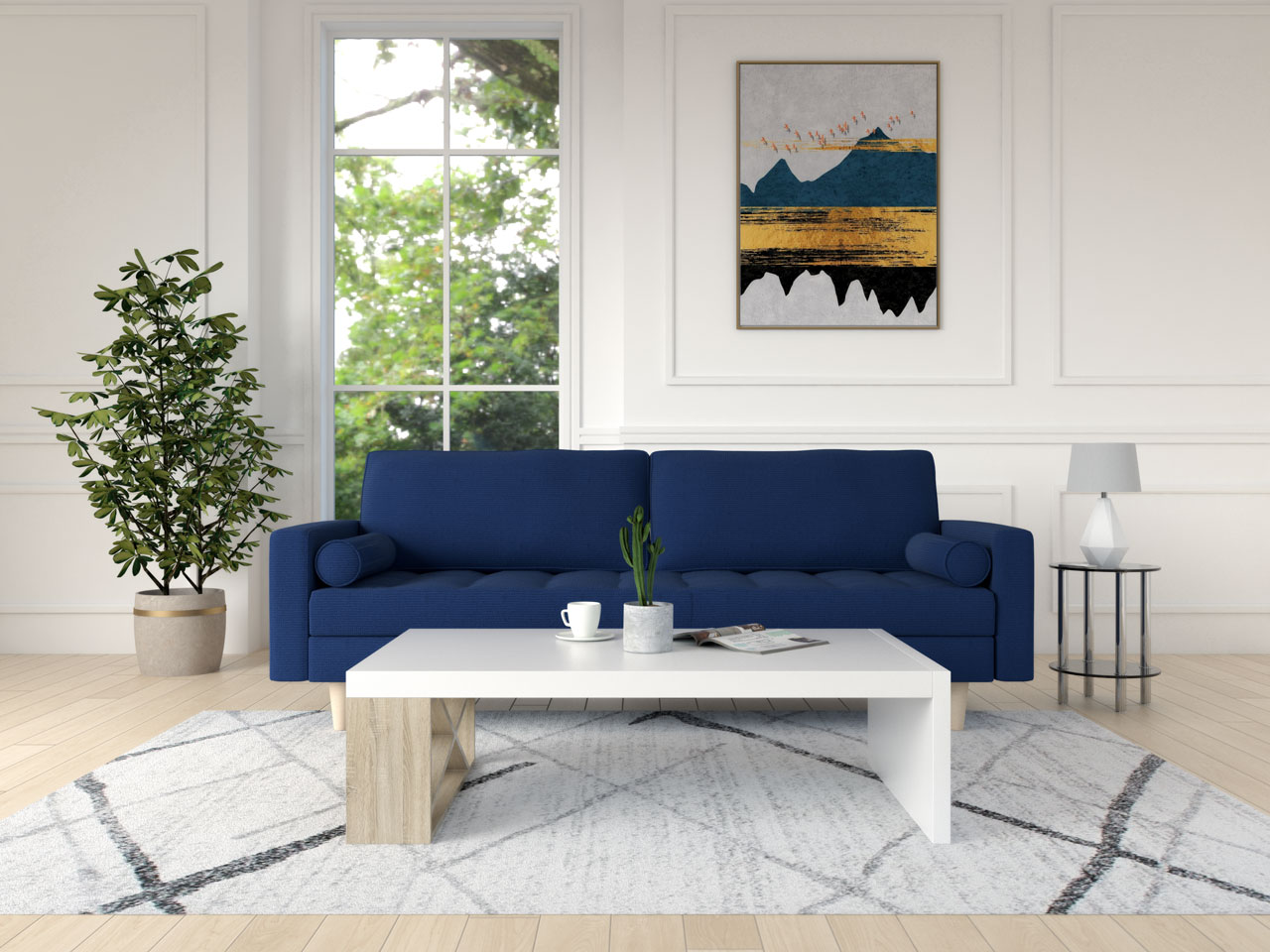 Blue sofa with a white and wood coffee table
