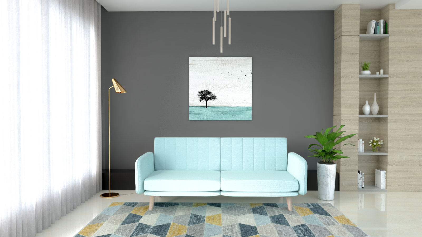 Aqua couch with gray wall