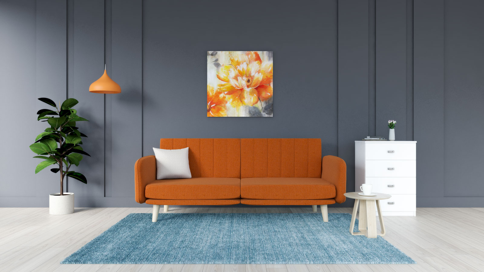 Aqua rug with orange sofa