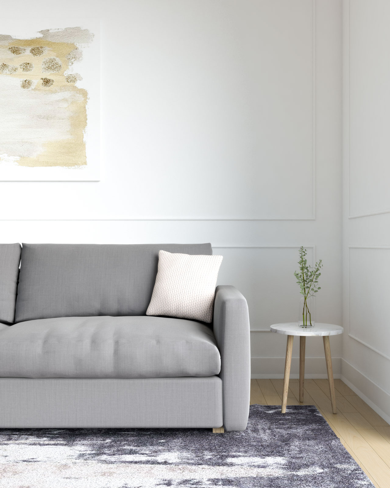 Beige throw pillow with grey couch