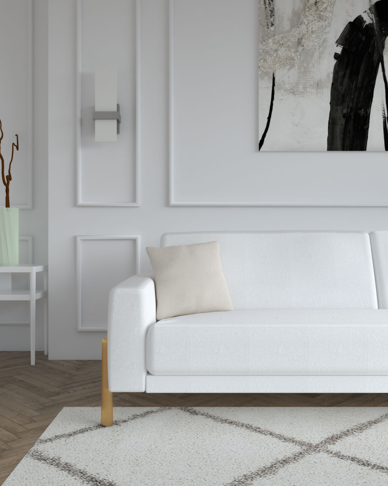 White couch with beige cushions