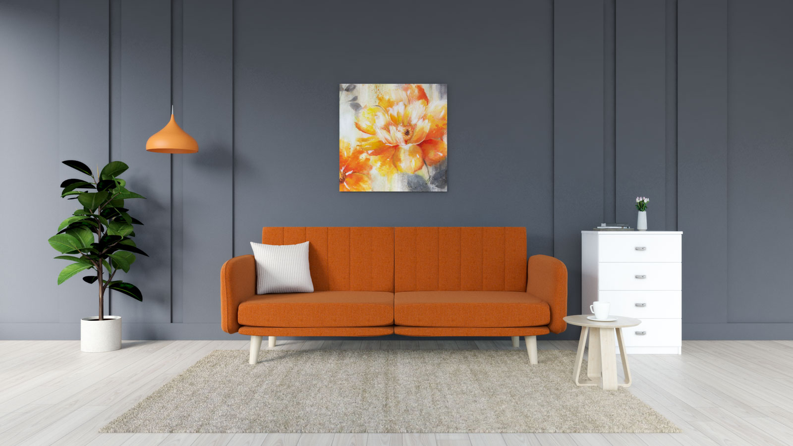 Beige rug with orange couch