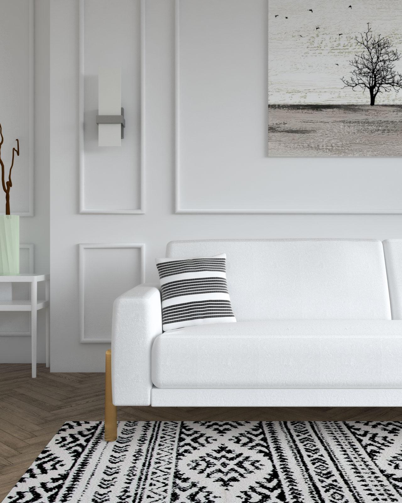 Black and white decorative throw pillow