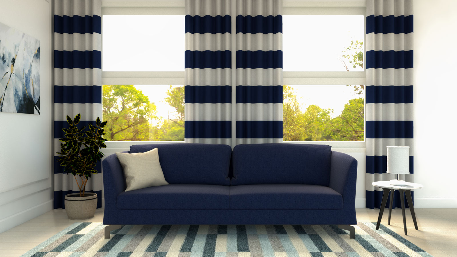 White and blue curtains with navy blue couch