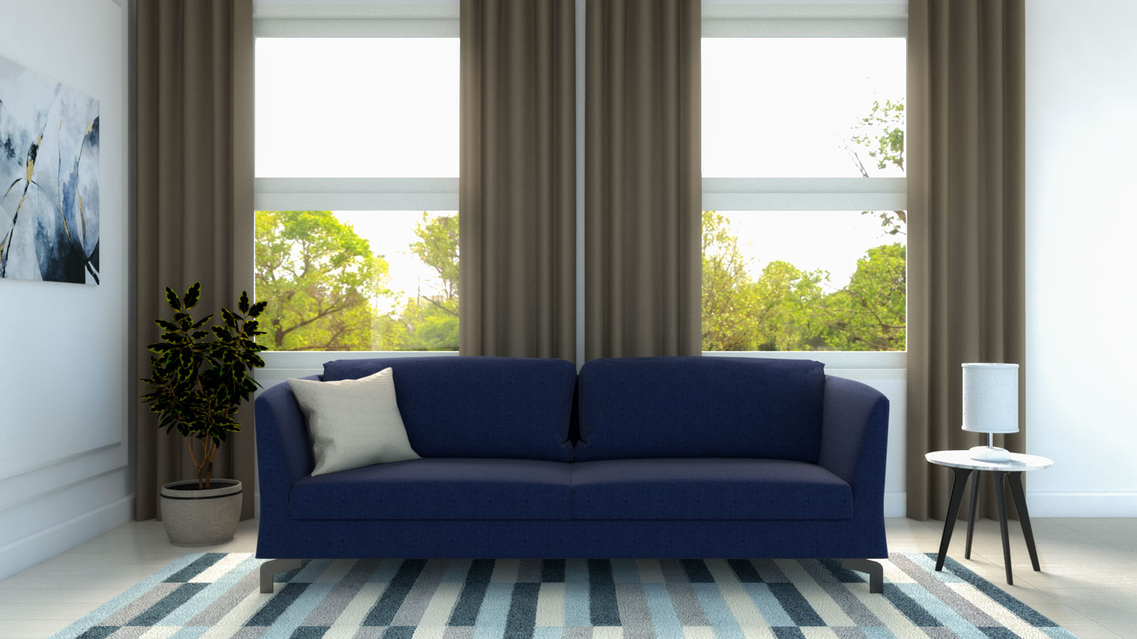 Brown curtains with a blue couch
