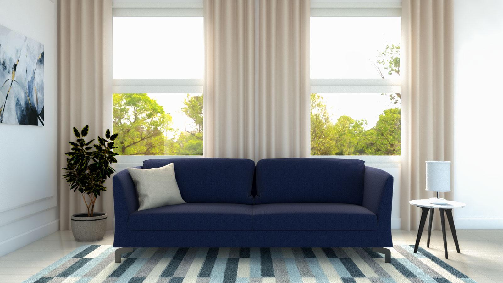Cream curtains with blue sofa