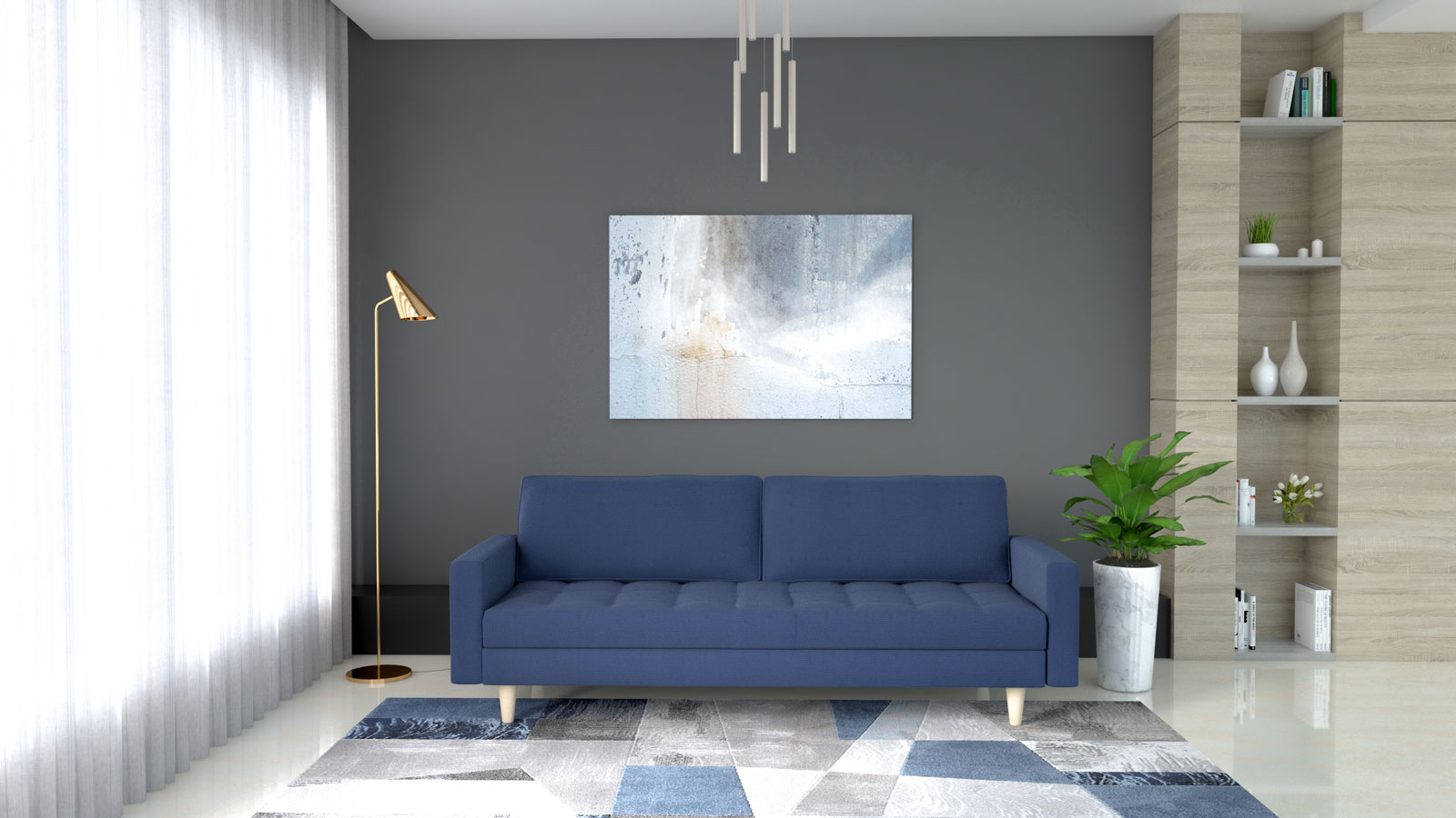Blue couch with dark gray wall