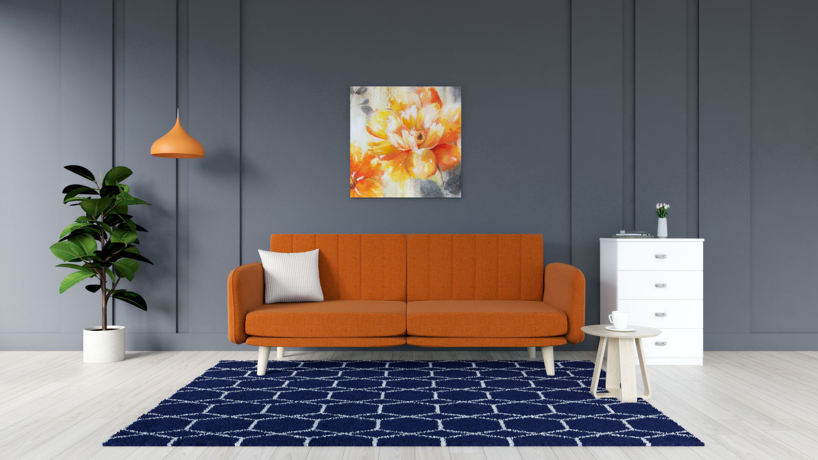 Blue rug with orange sofa