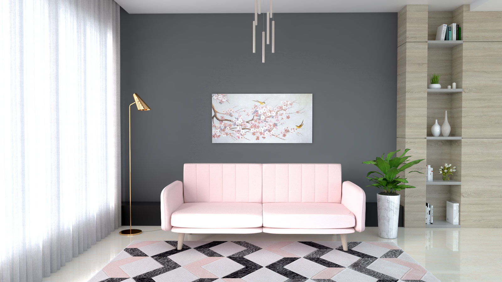 Blush pink sofa with dark gray accent wall