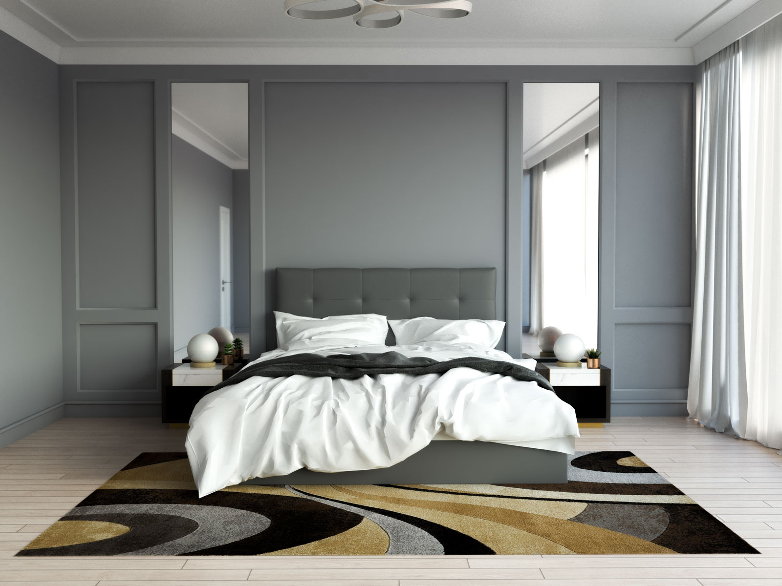 Brown and gray rug in bedroom with gray furniture