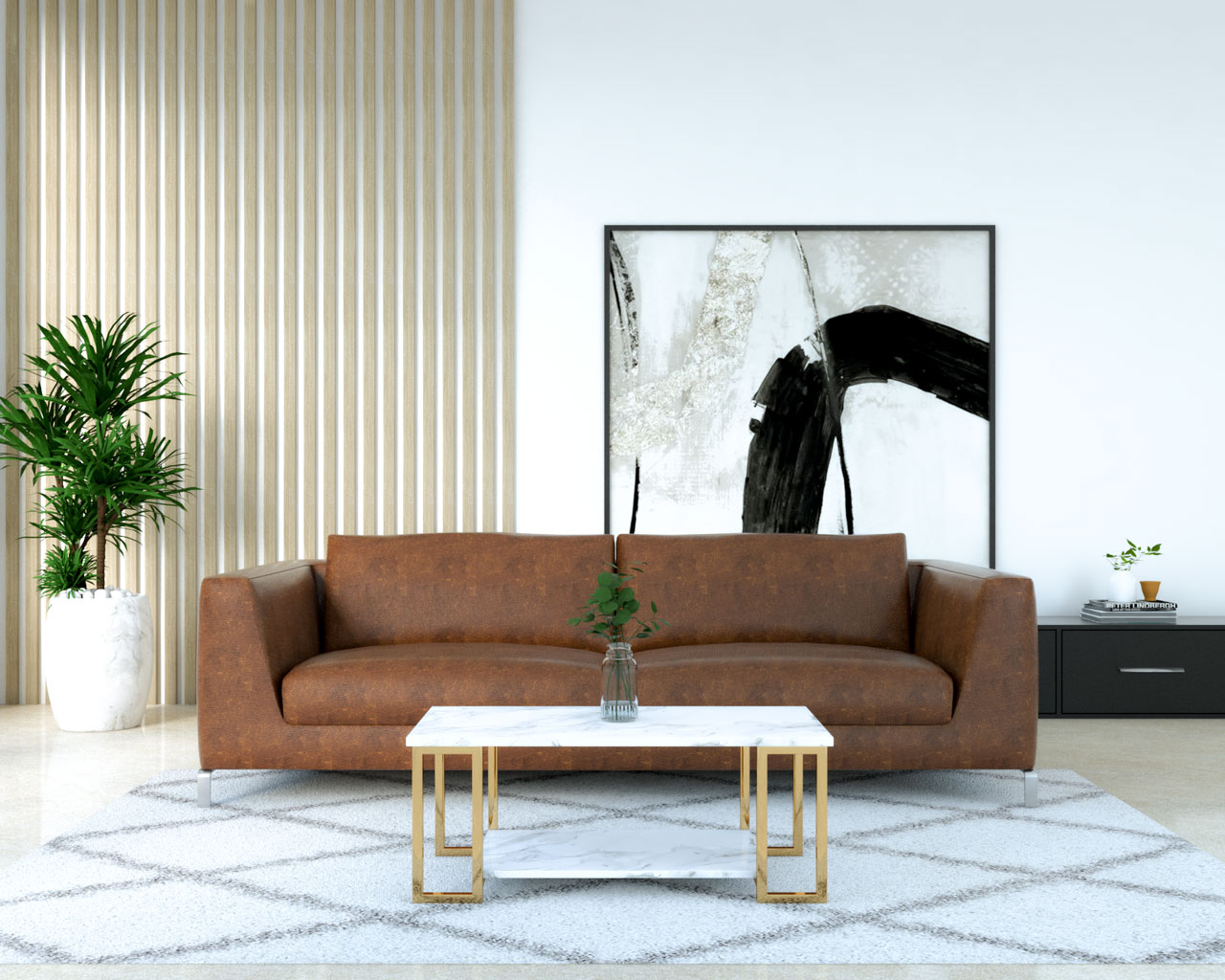 White and gold coffee table with dark brown leather couch