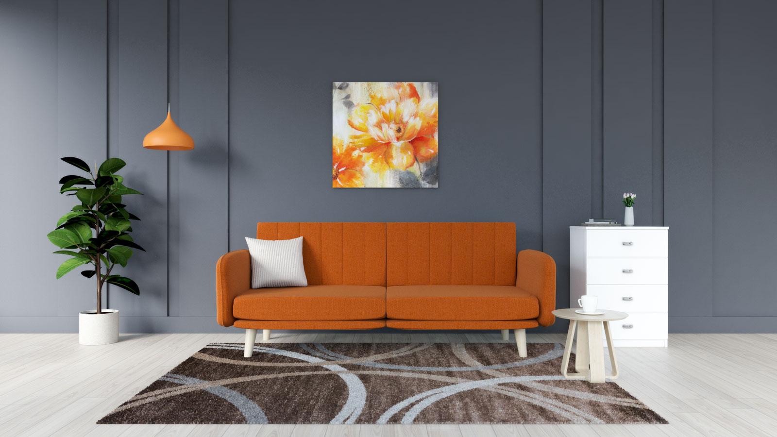 Brown rug with orange sofa