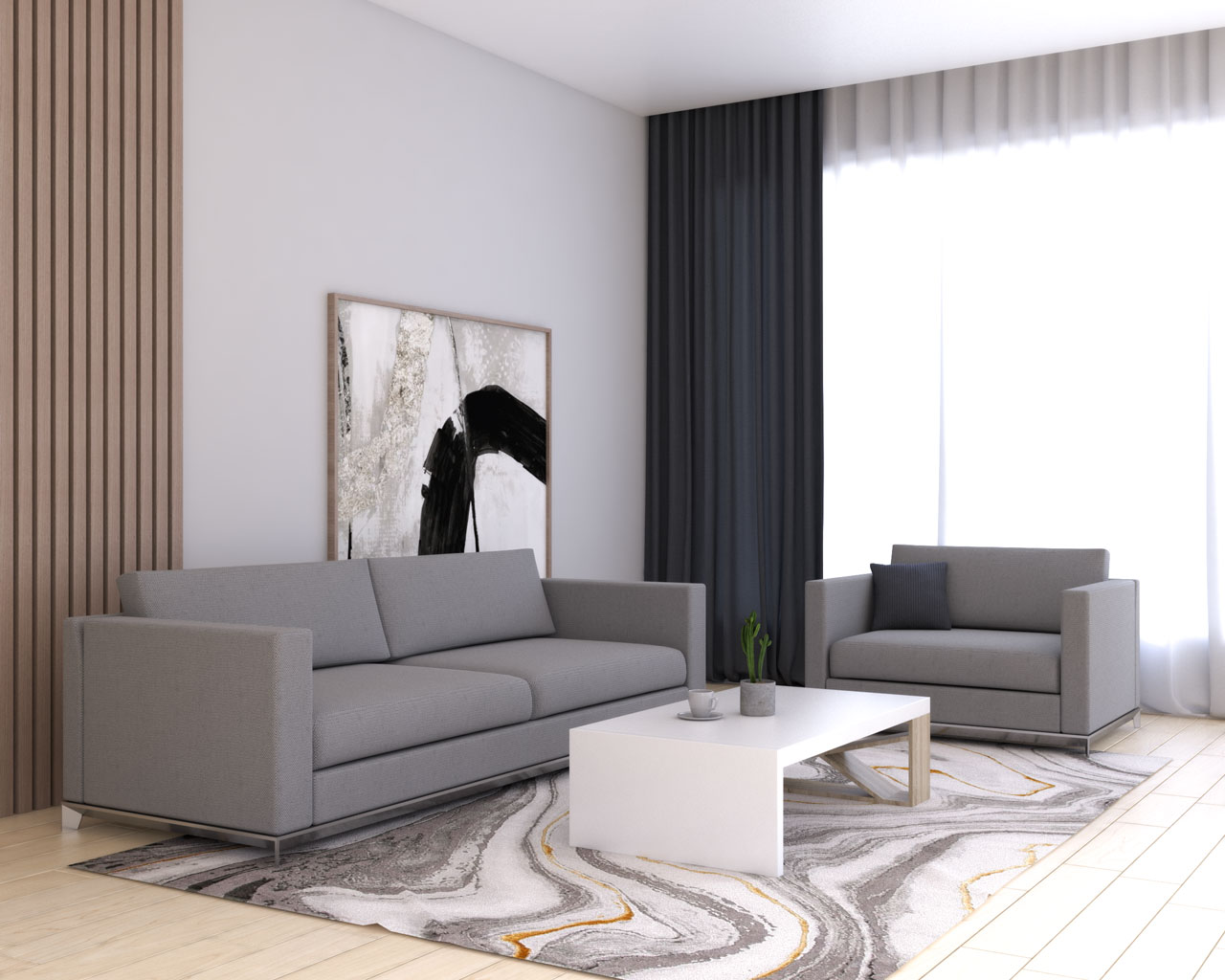 Charcoal curtains with gray couches