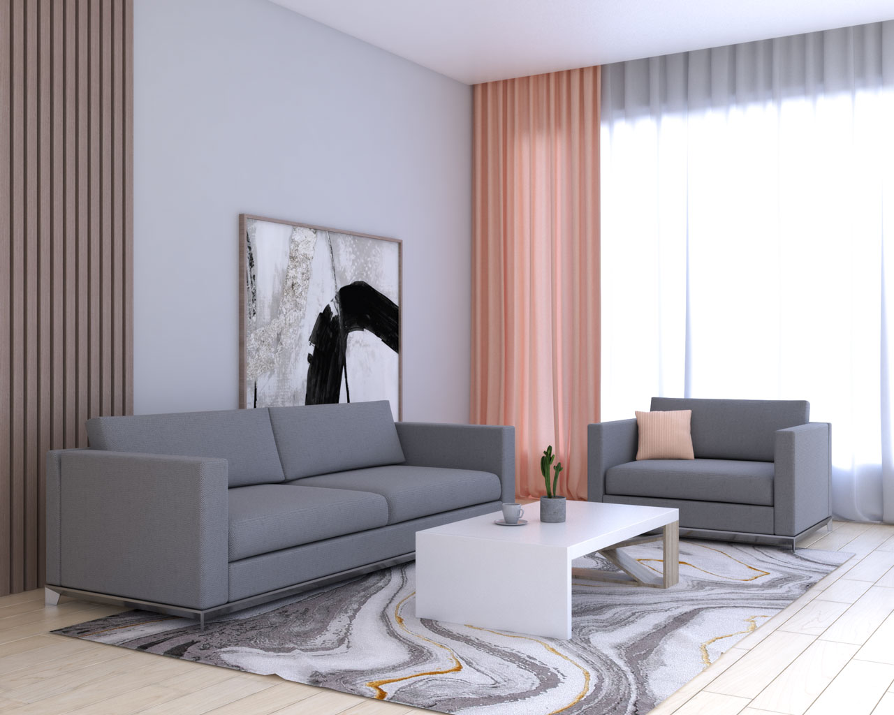 Coral curtains with grey furniture