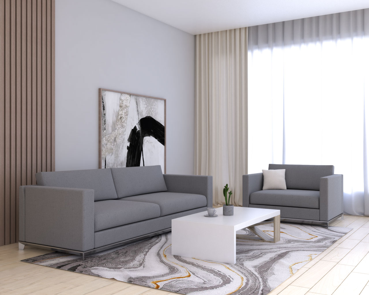 Cream curtains with gray couch