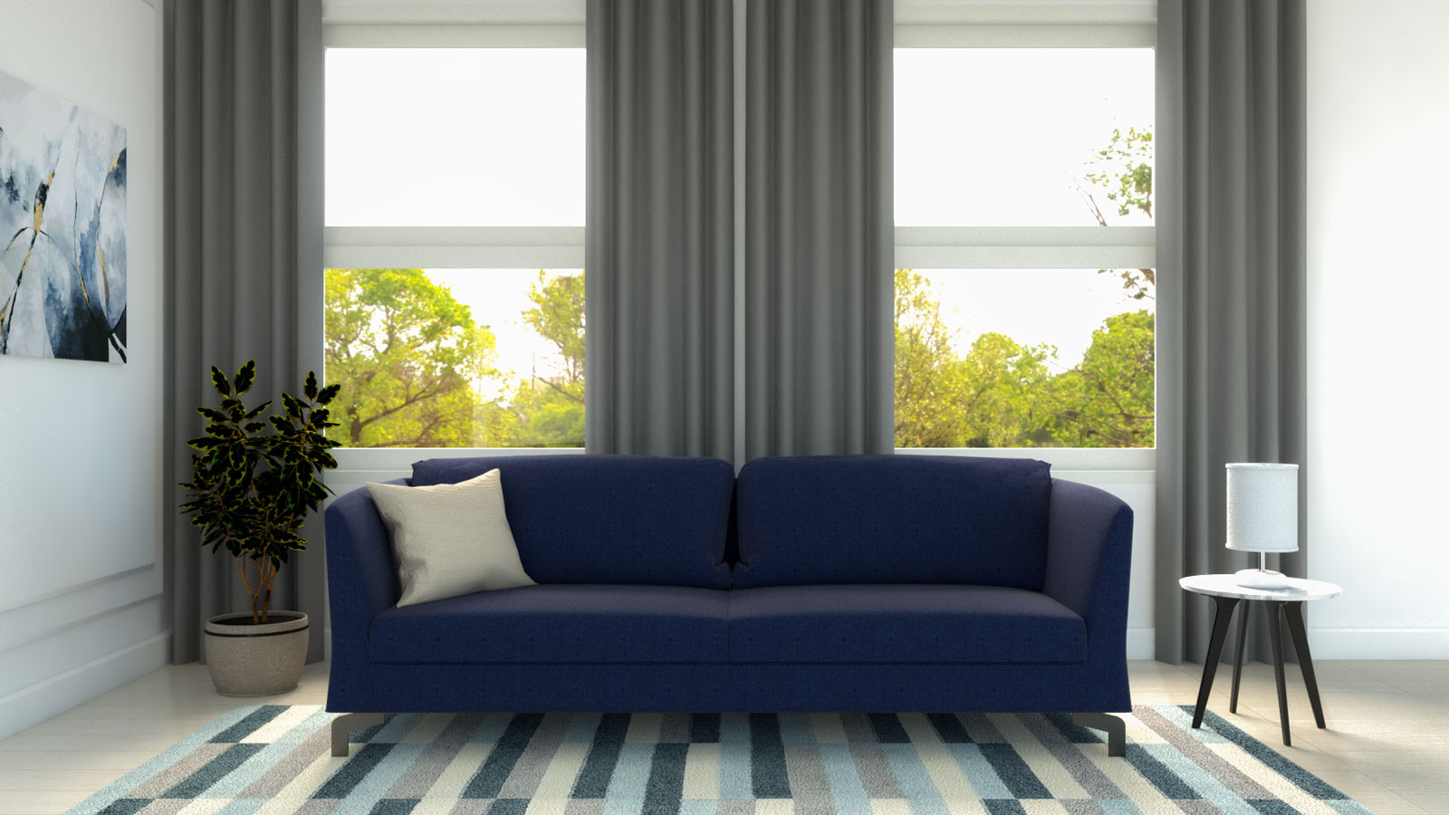 Medium gray curtains with dark blue couch