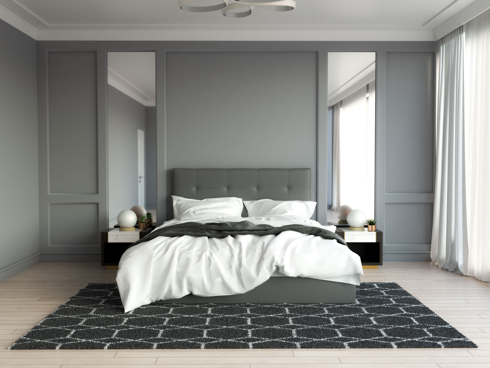 Stylish dark gray geometric rug