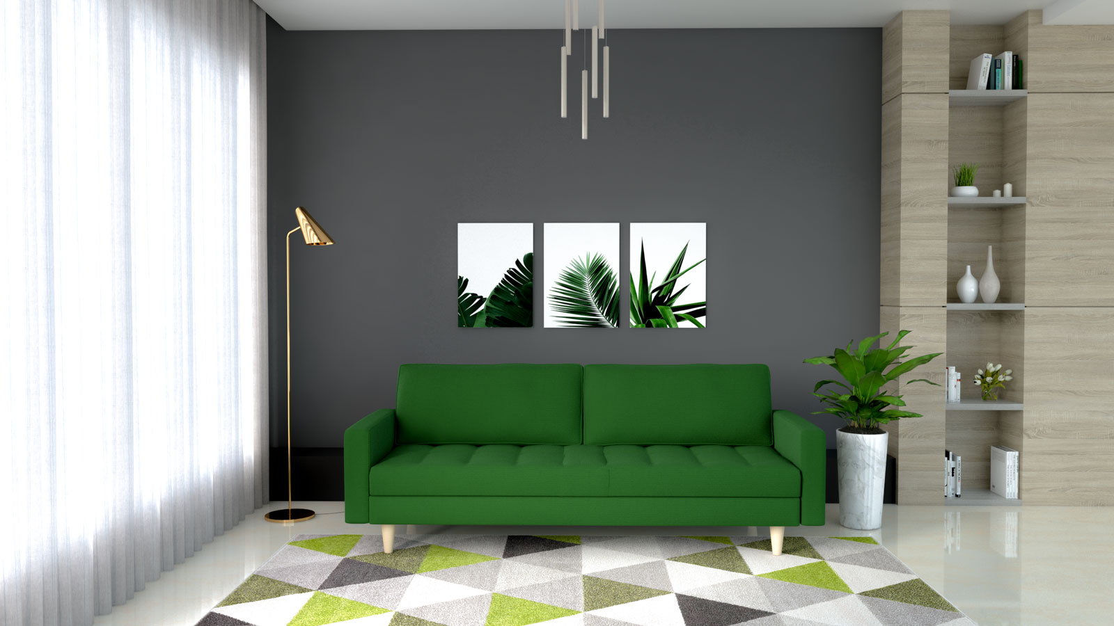 Dark green couch with gray accent wall