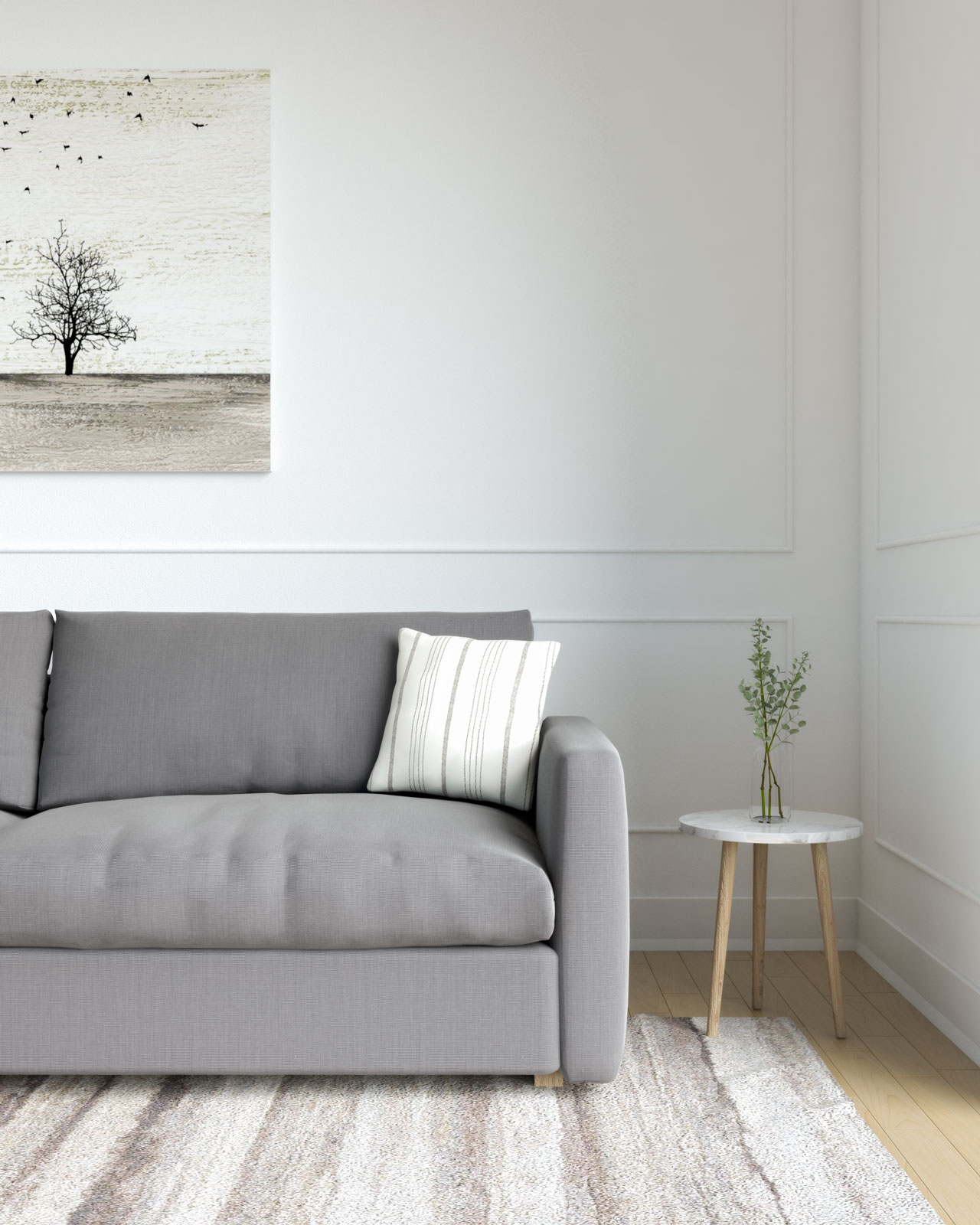 Gray and beige pillow with gray sofa