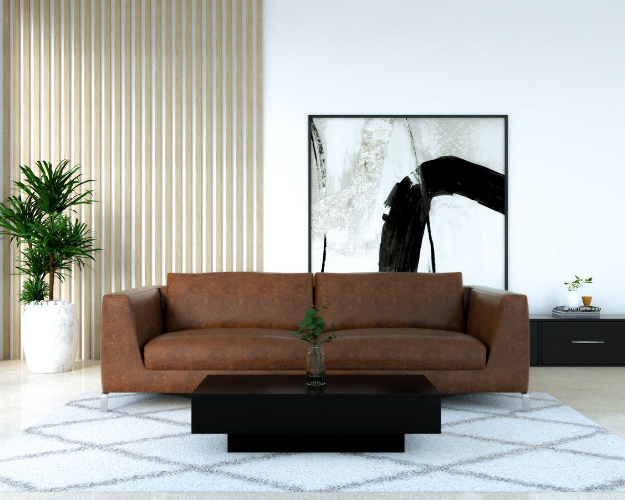 Elegant black glossy table with dark brown couch