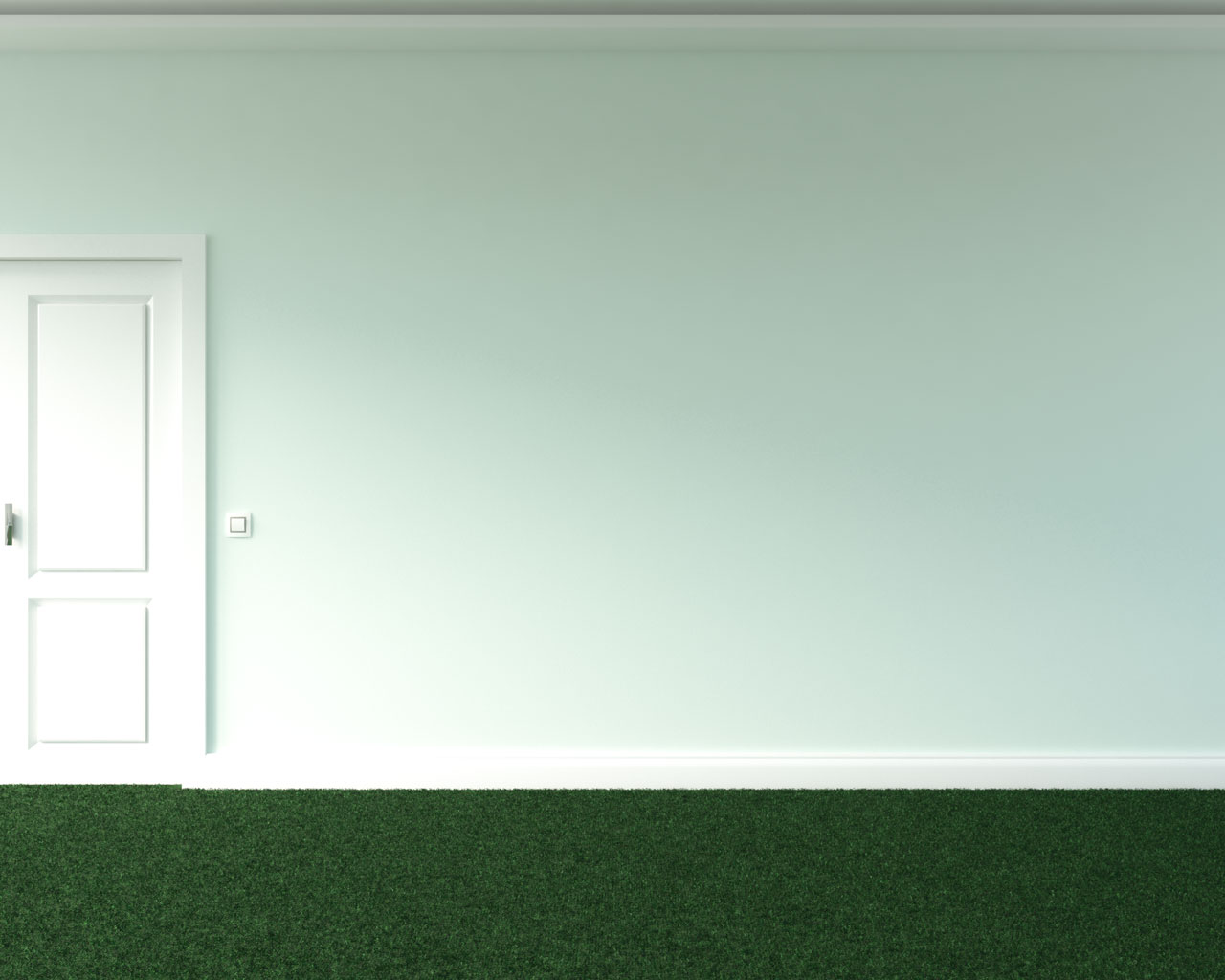 Green carpet with light mint wall