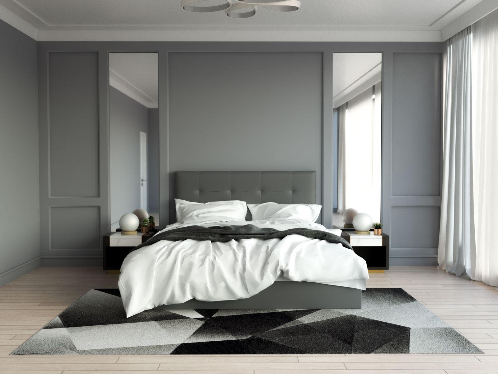 Black and gray rug inside gray bedroom