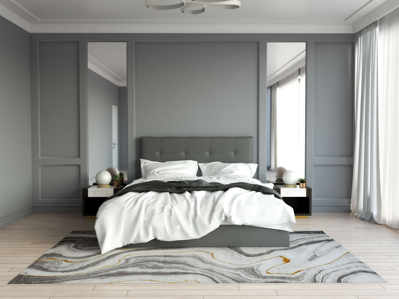 Gray and gold rug in gray bedroom